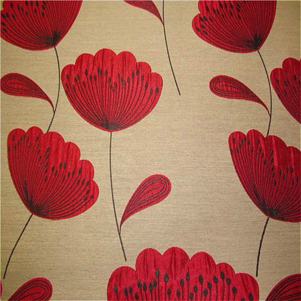 Chess Poppies Curtain Fabric Red | Curtain Factory Outlet