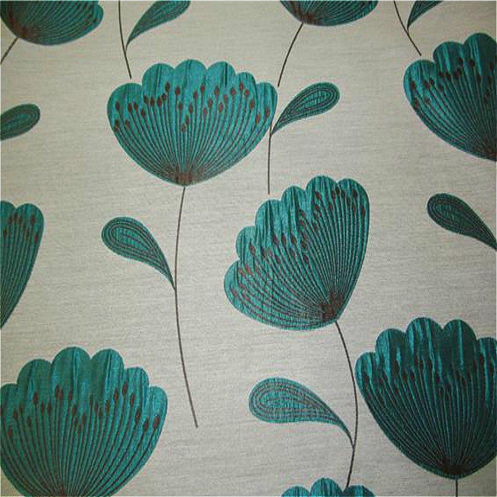 Chess Poppies Curtain Fabric Teal