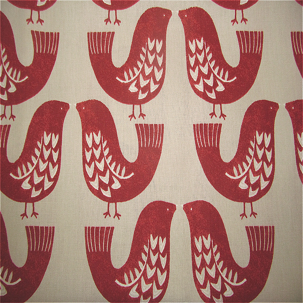 ILiv Scandinavian Birds Curtain Fabric Scarlet
