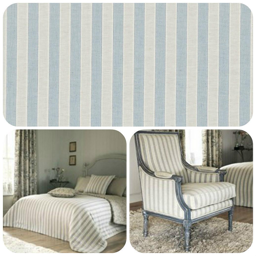 Sanderson Sorilla Stripe Curtain Fabric Delft Linen