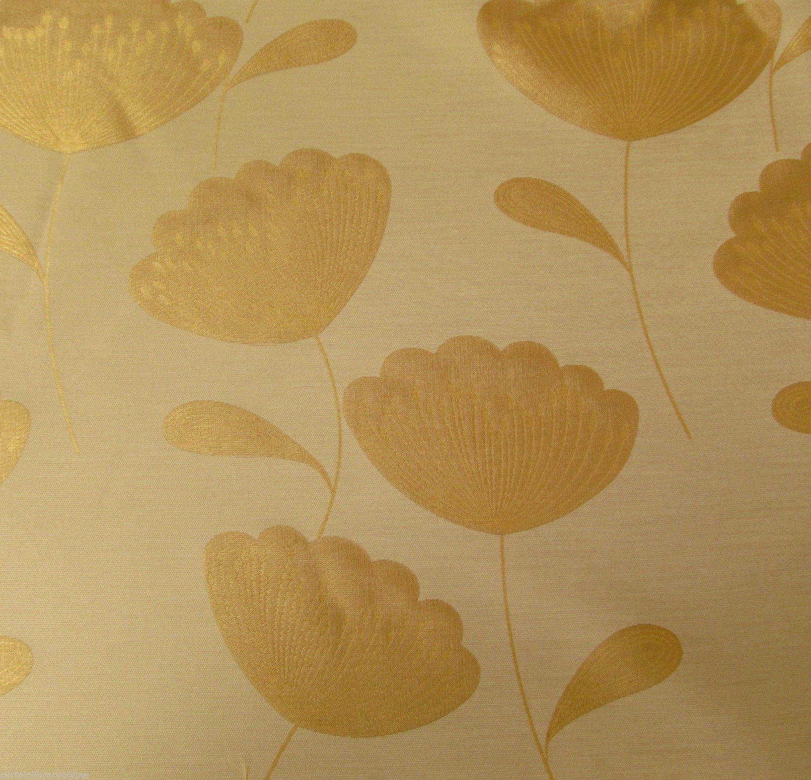 Chess Poppies Curtain Fabric Gold | Curtain Factory Outlet