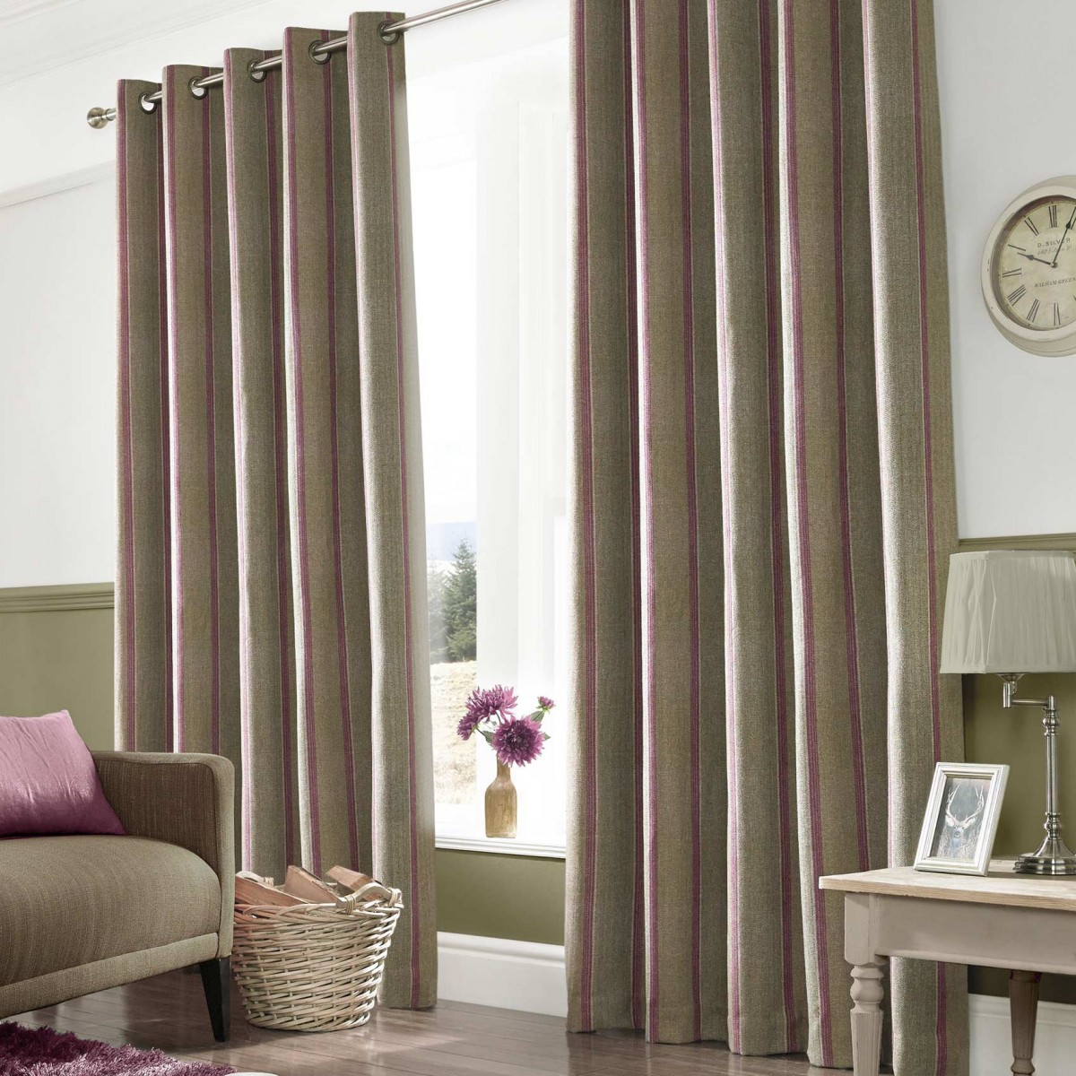 downton mulberry ready made curtains 90x54. Black Bedroom Furniture Sets. Home Design Ideas