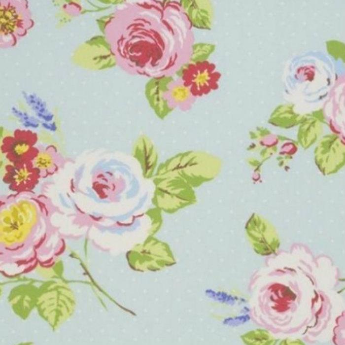 Clarke & Clarke English Rose Curtain Fabric Seafoam