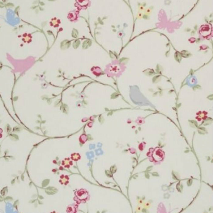 CLARKE and CLARKE 100/% COTTON CURTAIN FABRIC//CRAFT ENGLISH ROSE Sage Green