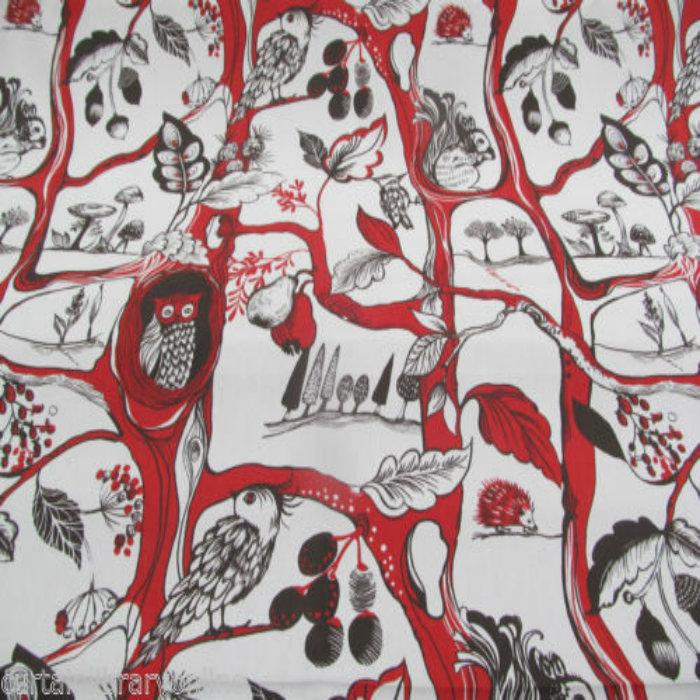 Prestigious Textiles Squirrels Chase Curtain Fabric Poppy ...